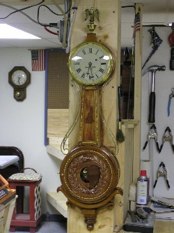 New Hampshire 'Old Man of the Mountain' Girandole Clock, front view'.
