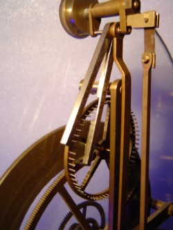 Reproduction great wheel skeleton clock, Escapement.
