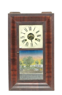 GEORGE MARSH, WINCHESTER, CONN. CT OGEE SHELF CLOCK, Full view.