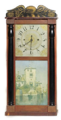 LUMAN WATSON SHELF CLOCK WITH EAGLE STENCIL, Full front view.
