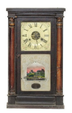 SETH THOMAS, PLYMOUTH HOLLOW, CT., SHELF CLOCK, Full front view.