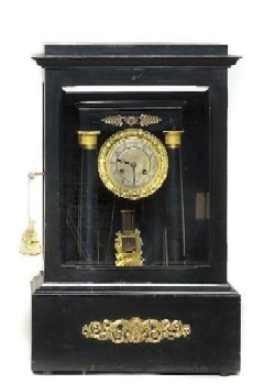 FRENCH CASED PORTICO CLOCK, Full front view.