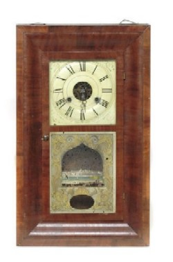 SETH THOMAS OGEE SHELF CLOCK, Full front view.