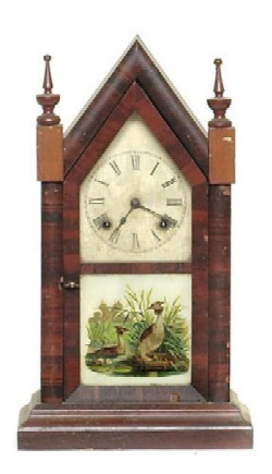 ANSONIA STEEPLE CLOCK, Full front view.