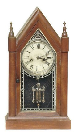 E.N. WELSH, FORESTVILLE, CT., STEEPLE CLOCK, Full front view.