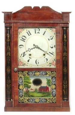 H.W. GILBERT CHESTER CT SHELF CLOCK, Full front view.