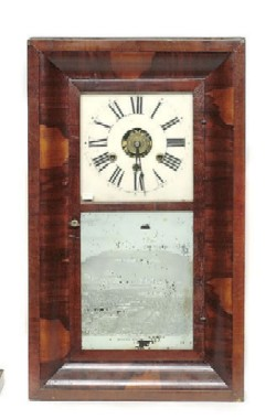 GEORGE MARSH, WINCHESTER, CONN., OGEE SHELF CLOCK, Full front view.