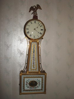 Mason and Sullivan banjo clock, Full front view.