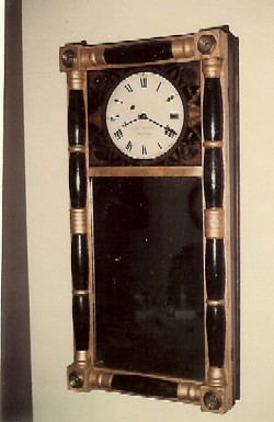 Morill mirror     clock, Full front view.