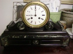 French Marble and Slate mantle clock, Full front view.