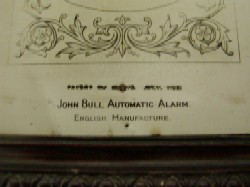 John Bull alarm mantle clock, Manufacture information from the Dial.